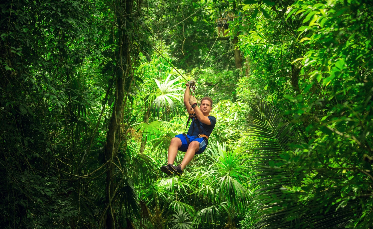 man during a Zip-line Tour costa rica
